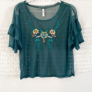 Xhilaration green mesh embroidered crop top m